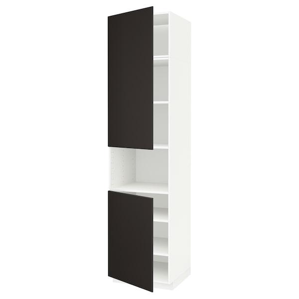 METOD Hoge kast magn m 2deur/plank, wit/Kungsbacka antraciet, 60x60x240 cm