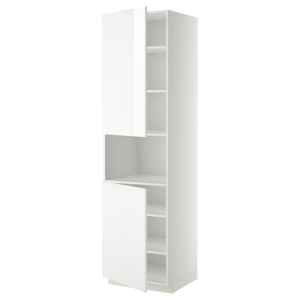 METOD Hoge kast magn m 2deur/plank, wit/Ringhult wit, 60x60x220 cm