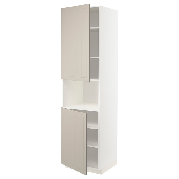 METOD Hoge kast magn m 2deur/plank, wit/Stensund beige, 60x60x220 cm