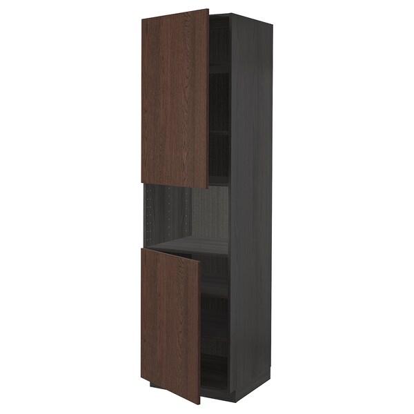 METOD Hoge kast magn m 2deur/plank, zwart/Sinarp bruin, 60x60x220 cm