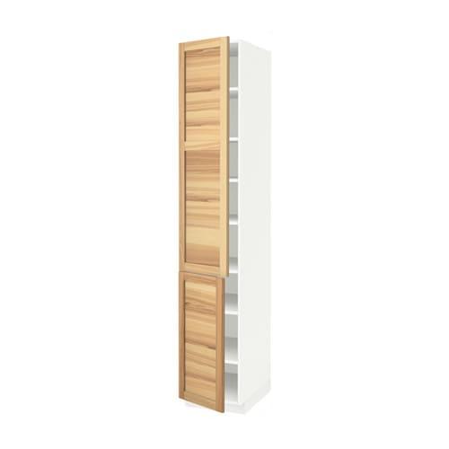 METOD Hoge kast met planken  2 deuren   wit, Torhamn naturel essen, 40x60x220 cm   IKEA