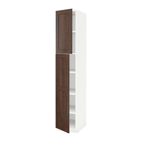 METOD Hoge kast met planken  2 deuren   wit, Edserum houteffect bruin, 40x60x220 cm   IKEA