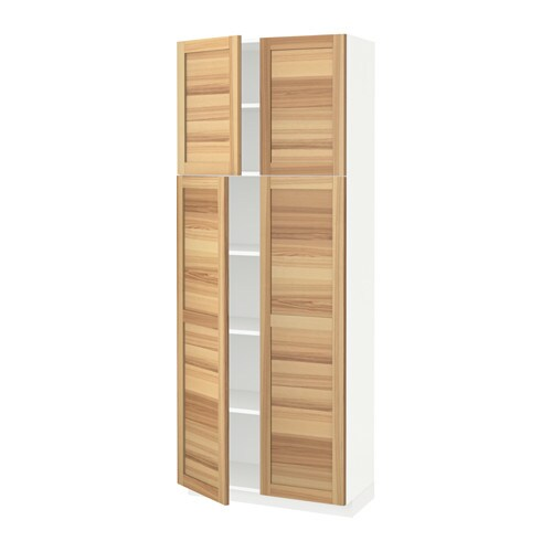 METOD Hoge kast met planken  4 deuren   wit, Torhamn naturel essen, 80x37x200 cm   IKEA