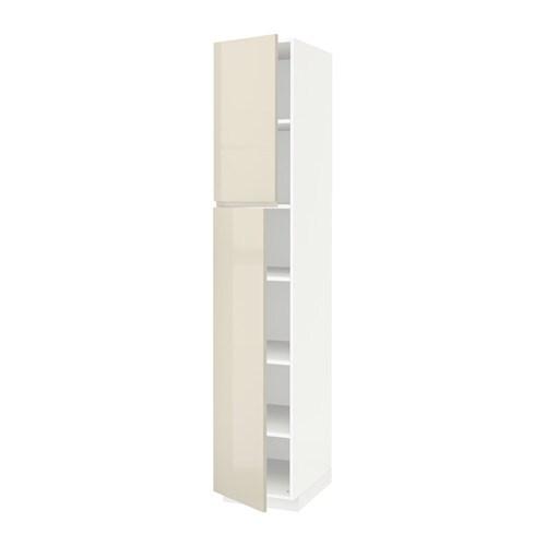 metod hoge kast met planken 2 deuren wit voxtorp hoogglans lichtbeige 40x60x220 cm ikea. Black Bedroom Furniture Sets. Home Design Ideas