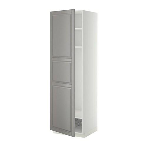 METOD Hoge kast met planken  draadmand   wit, Bodbyn grijs, 60x60x200 cm   IKEA