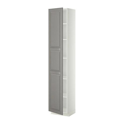 METOD Hoge kast met planken   wit, Bodbyn grijs, 40x37x200 cm   IKEA