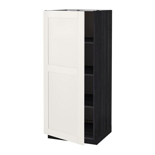 METOD Hoge kast met planken   houteffect zwart, S u00e4vedal wit   IKEA