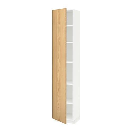 METOD Hoge kast met planken   wit, Ekestad eiken, 40x37x200 cm   IKEA