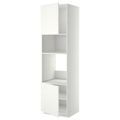 METOD Hoge kast oven/magn&2deur/plank, wit/Häggeby wit, 60x60x220 cm
