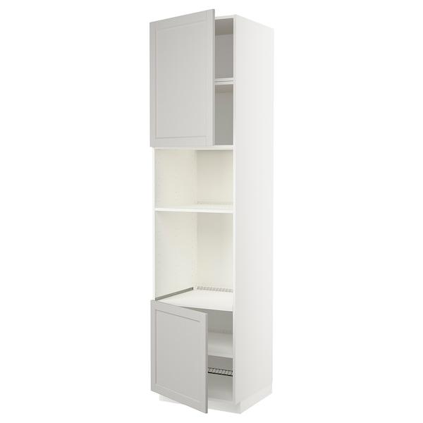 METOD Hoge kast oven/magn&2deur/plank, wit/Lerhyttan lichtgrijs, 60x60x240 cm