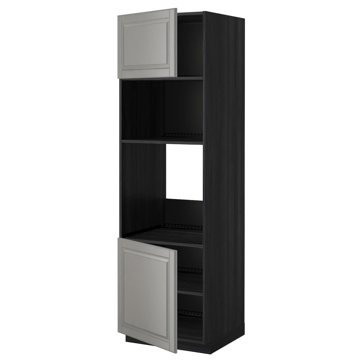 METOD Hoge kast oven/magn&2deur/plank Zwart/bodbyn grijs 60x60x200 ...