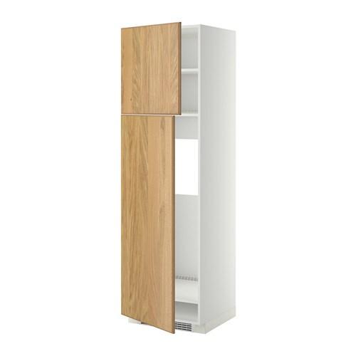 METOD Hoge kast v koelkast met 2 deuren   wit, Hyttan eikenfineer, 60x60x200 cm   IKEA