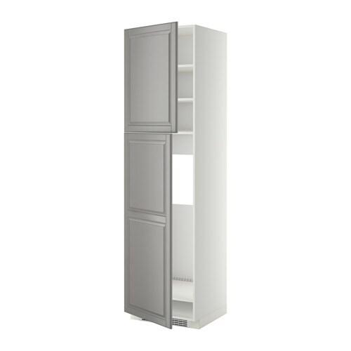 METOD Hoge kast v koelkast met 2 deuren   wit, Bodbyn grijs, 60x60x220 cm   IKEA