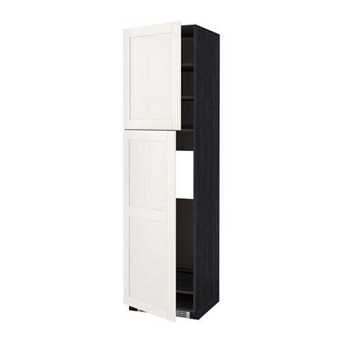 METOD Hoge kast v koelkast met 2 deuren   houteffect zwart, S u00e4vedal wit, 60x60x220 cm   IKEA