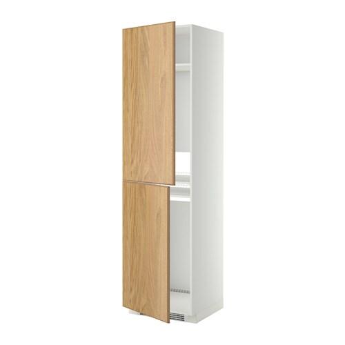 METOD Hoge kast voor koelkast  vriezer   wit, Hyttan eikenfineer, 60x60x220 cm   IKEA
