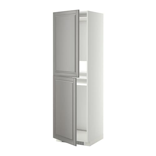 METOD Hoge kast voor koelkast  vriezer   wit, Bodbyn grijs, 60x60x200 cm   IKEA