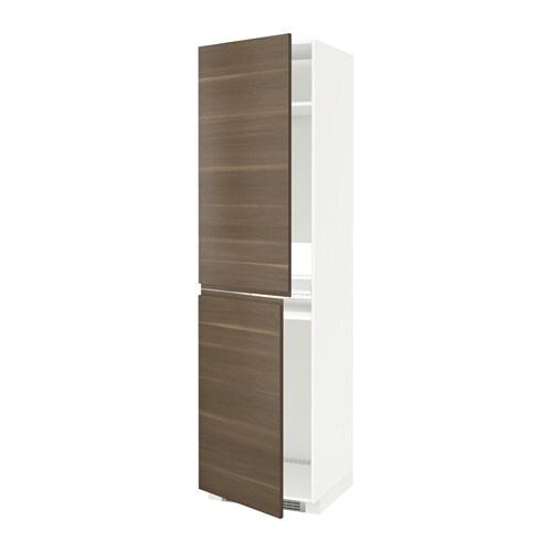 METOD Hoge kast voor koelkast  vriezer   wit, Voxtorp walnootpatroon, 60x60x220 cm   IKEA