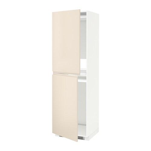 METOD Hoge kast voor koelkast  vriezer   wit, Voxtorp lichtbeige, 60x60x200 cm   IKEA