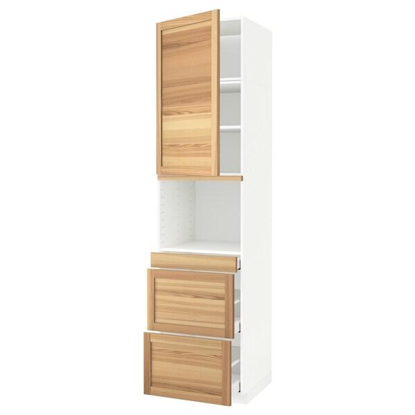METOD / MAXIMERA Hoge kast combimagn&deur/3 lades, wit/Torhamn essen, 60x60x240 cm
