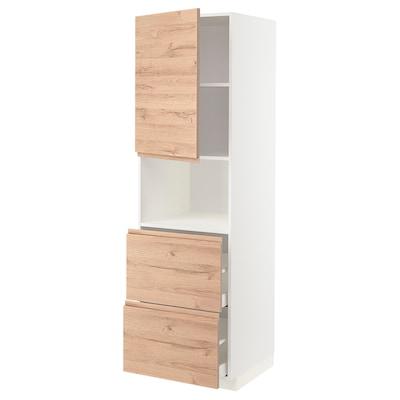 METOD / MAXIMERA Hoge kast magnetron m deur/2 lades, wit/Voxtorp eikenpatroon, 60x60x200 cm