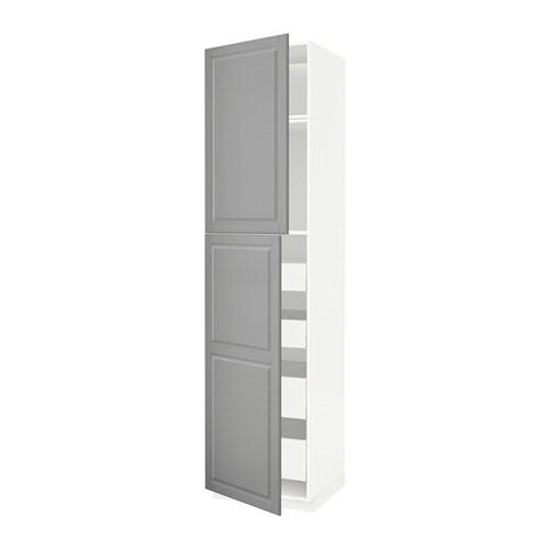 METOD    MAXIMERA Hoge kast met 2 deuren  4 lades   wit, Bodbyn grijs, 60x60x240 cm