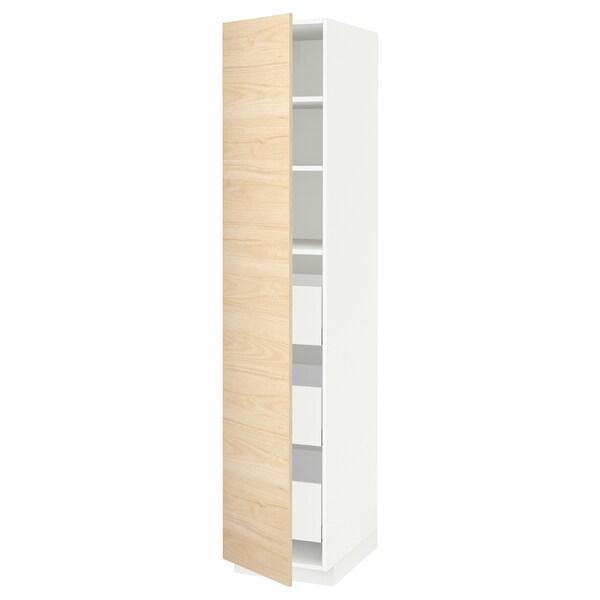 METOD / MAXIMERA Hoge kast met lades, wit/Askersund licht essenpatroon, 40x60x200 cm
