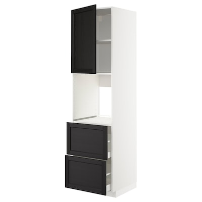 METOD / MAXIMERA Hoge kast oven&deur/2front/2hg lade, wit/Lerhyttan zwart gelazuurd, 60x60x220 cm
