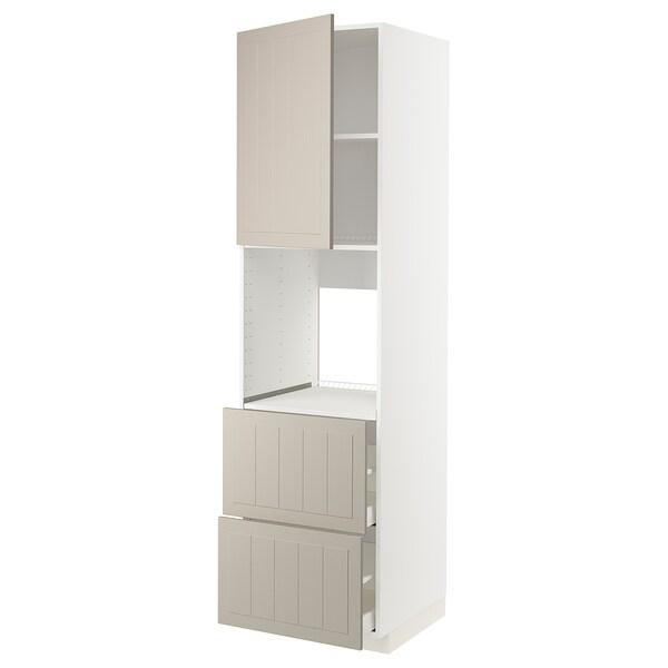 METOD / MAXIMERA Hoge kast oven&deur/2front/2hg lade, wit/Stensund beige, 60x60x220 cm