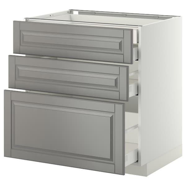 METOD / MAXIMERA Onderkast 3 front/2 lg/1 M/1 hg la, wit/Bodbyn grijs, 80x60 cm