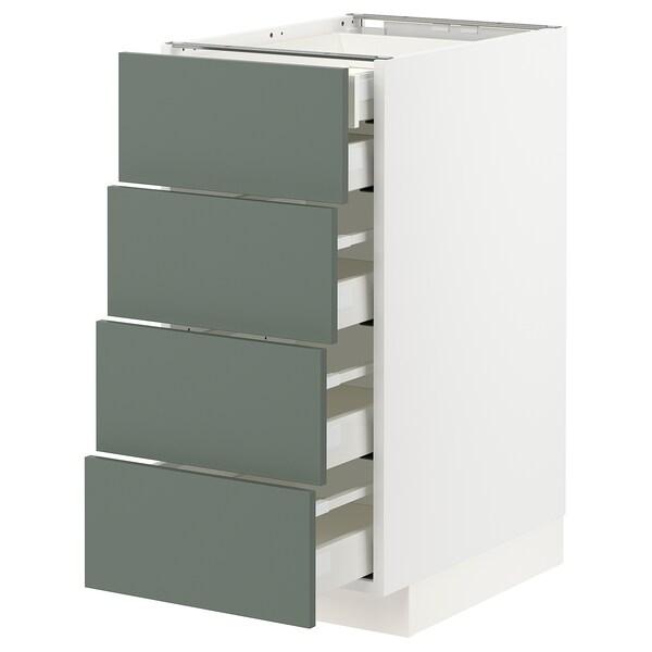 METOD / MAXIMERA Onderkast 4 front/2 lage/3 M lades, wit/Bodarp grijsgroen, 40x60 cm