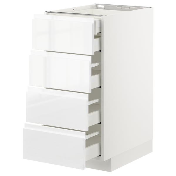 METOD / MAXIMERA Onderkast 4 front/2 lage/3 M lades, wit/Voxtorp hoogglans/wit, 40x60 cm