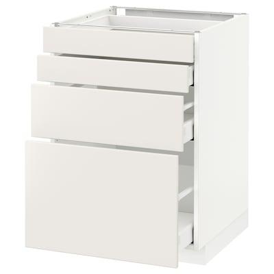 METOD / MAXIMERA Onderkast 4 fronten/4 lades, wit/Veddinge wit, 60x60 cm