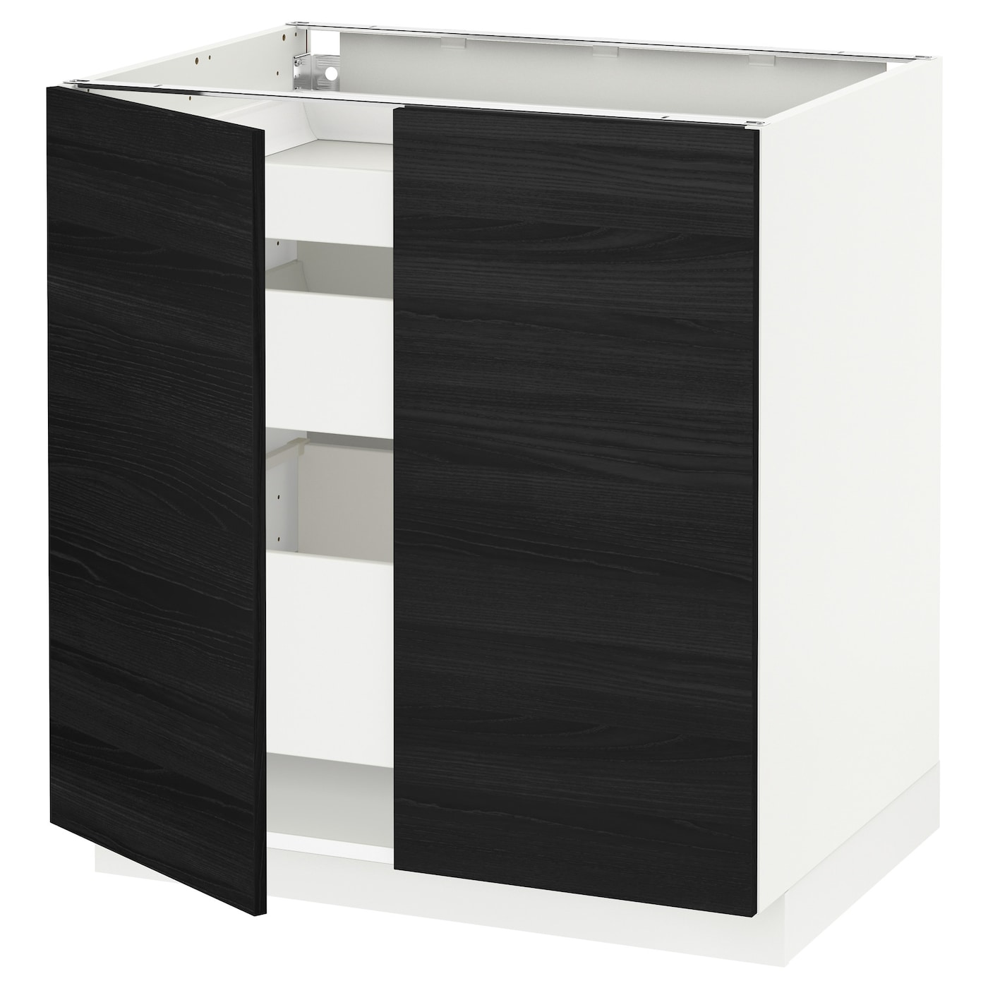metod maximera onderkast met 2 deuren 3 lades wit tingsryd zwart 80x60 cm ikea. Black Bedroom Furniture Sets. Home Design Ideas