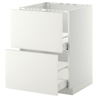 METOD / MAXIMERA Onderkast spoelbak+2 front/2 lades, wit/Häggeby wit, 60x60 cm