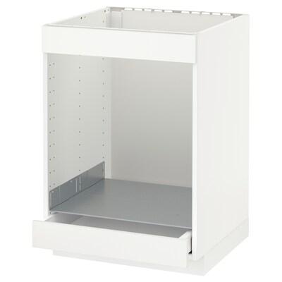 METOD Onderkast kookplaat+oven m la, wit/Häggeby wit, 60x60 cm