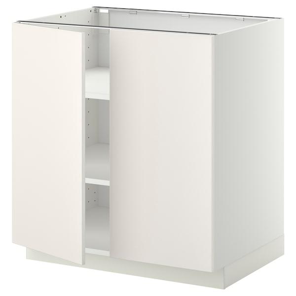 METOD Onderkast met plank/2 deuren, wit/Veddinge wit, 80x60 cm