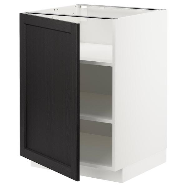 METOD Onderkast met planken, wit/Lerhyttan zwart gelazuurd, 60x60 cm