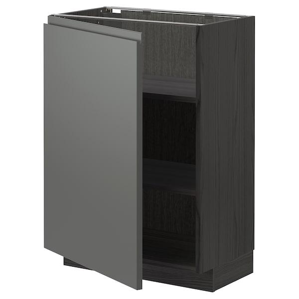 METOD Onderkast met planken, zwart/Voxtorp donkergrijs, 60x37 cm