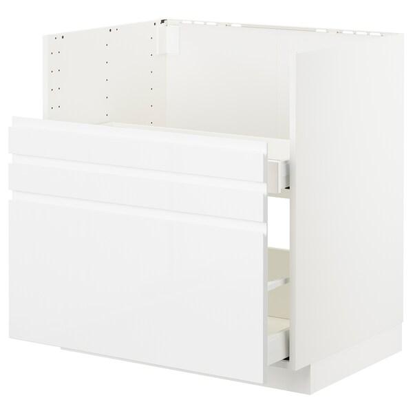 METOD Ondkast BREDSJÖN spoelbak/2front/2l, wit/Voxtorp hoogglans/wit, 80x60 cm
