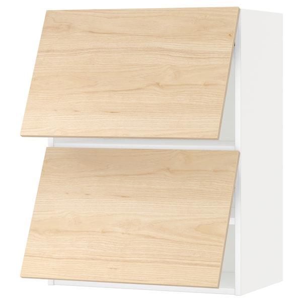 METOD Wandkast horiz 2 drn m drukopening, wit/Askersund licht essenpatroon, 60x80 cm