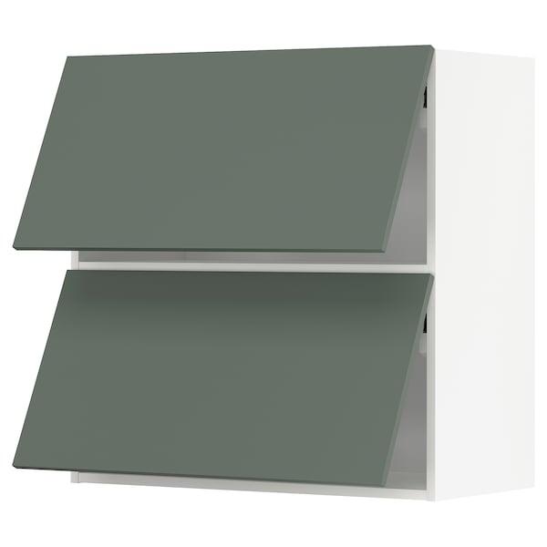 METOD Wandkast horiz 2 drn m drukopening, wit/Bodarp grijsgroen, 80x80 cm