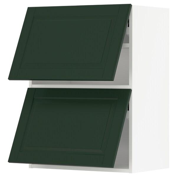 METOD Wandkast horiz 2 drn m drukopening, wit/Bodbyn donkergroen, 60x80 cm