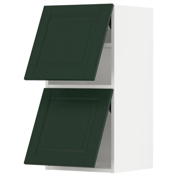 METOD Wandkast horiz 2 drn m drukopening, wit/Bodbyn donkergroen, 40x80 cm