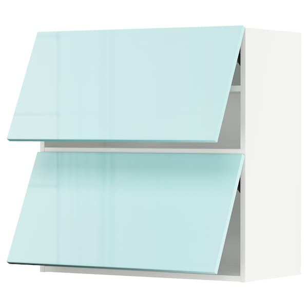 METOD Wandkast horiz 2 drn m drukopening, wit Järsta/hoogglans lichtturkoois, 80x80 cm