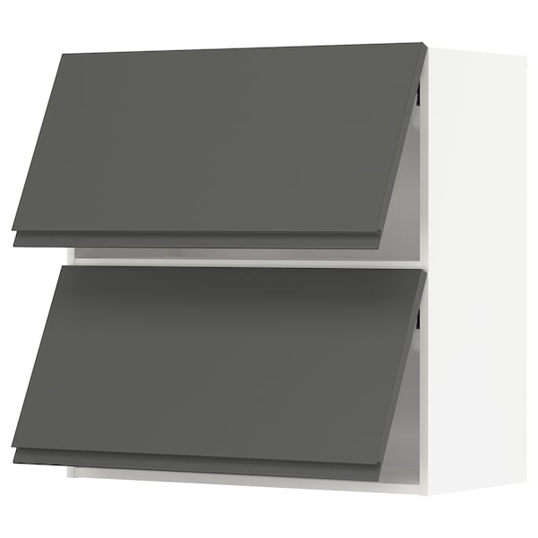METOD Wandkast horiz 2 drn m drukopening, wit/Voxtorp donkergrijs, 80x80 cm