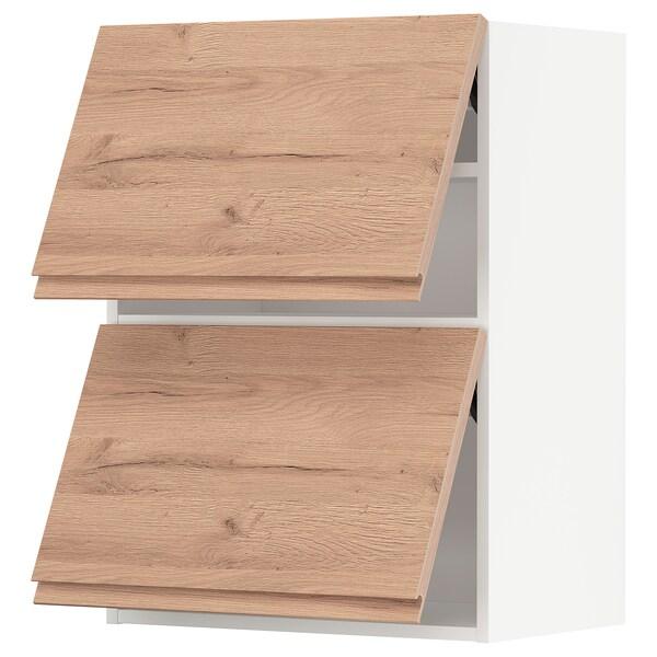 METOD Wandkast horiz 2 drn m drukopening, wit/Voxtorp eikenpatroon, 60x80 cm