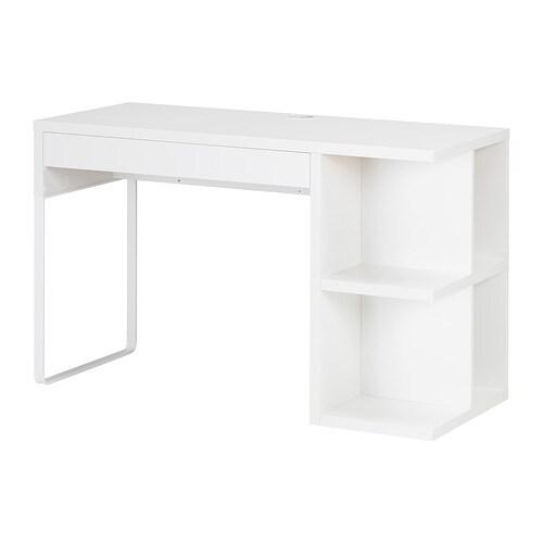 Micke bureau met ingebouwde opberger wit ikea for Bureau ikea micke