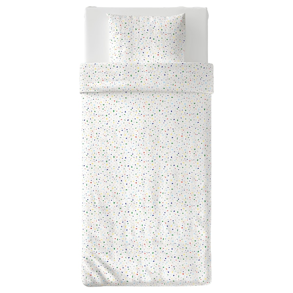 MÖJLIGHET Dekbedovertrek met 1 sloop, wit/mozaïekpatroon, 150x200/50x60 cm