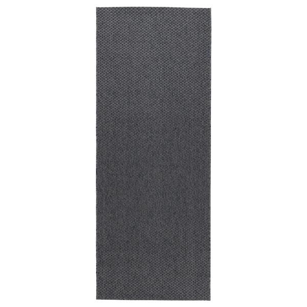 MORUM Vloerkleed glad geweven, bin/buit, donkergrijs, 80x200 cm