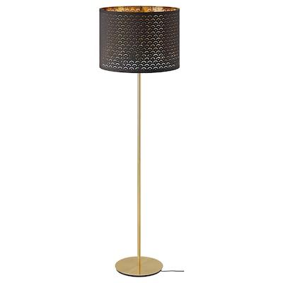 NYMÖ / SKAFTET Staande lamp, zwart messing/messing